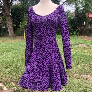 Betsey Johnson purple leopard print dress NWT